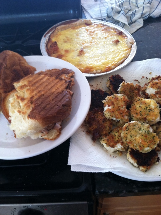 L to R: Challah bread grilled cheese. Quiche Lorraine. Fried goat cheese.