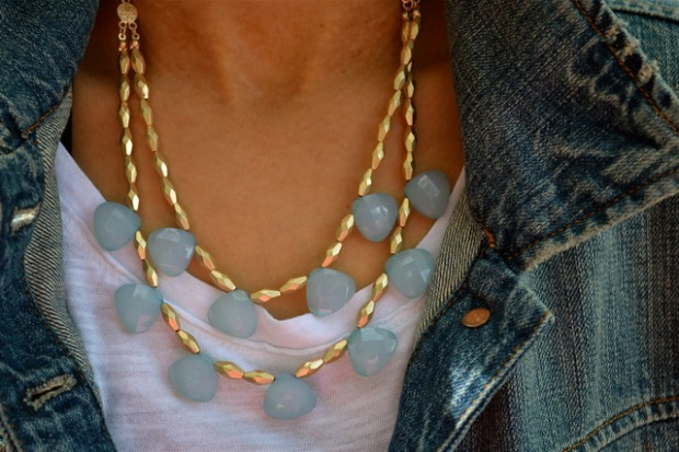 DOUBLE LAYERED AQUA STONE DECO NECKLACE · $12.00