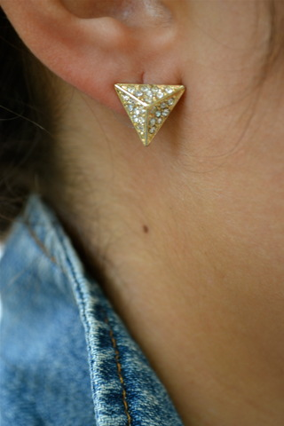 GOLD PAVE PYRAMID STUDS · $11.00