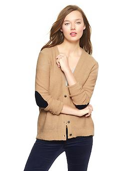 Gap's Circle-hem Elbow-patch cardigan.