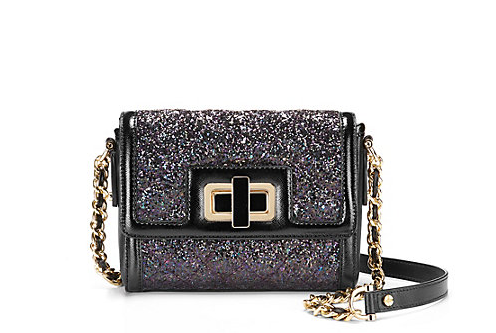 Quilted Glitter Crossbody Clutch: $128.