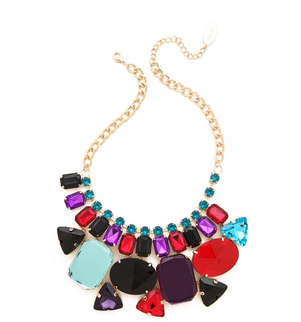 Geometric Colorful Gemstone Necklace.