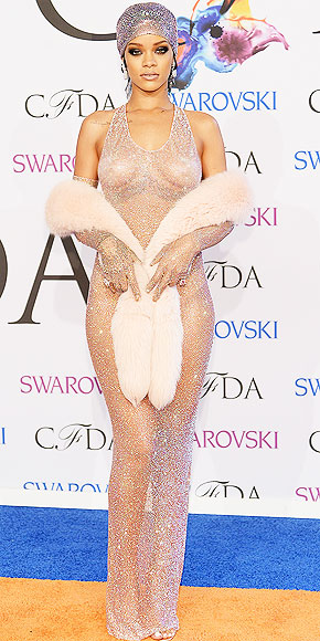 Rihanna in Adam Selman.