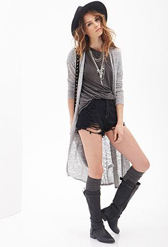 Marled Knit Maxi Cardigan - Forever 21.
